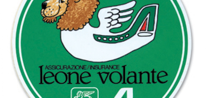 sticker of the 'Flying Lion': as symbol of the agreement between Generali and Alitalia wich generated a policy customized for air travelers (G. Forattini, 1985)