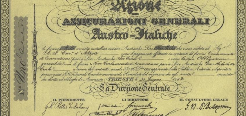 Viglietto: Assicurazioni Generali's initial capital was 2 million Florins, divided into 2,000 'viglietti' of 1,000 Florins each