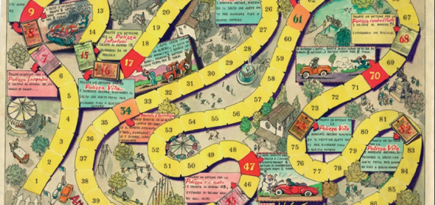 'gioco dell'oca' (snakes and ladders): a board game publicizing various Ina policies (1950s/1960s)