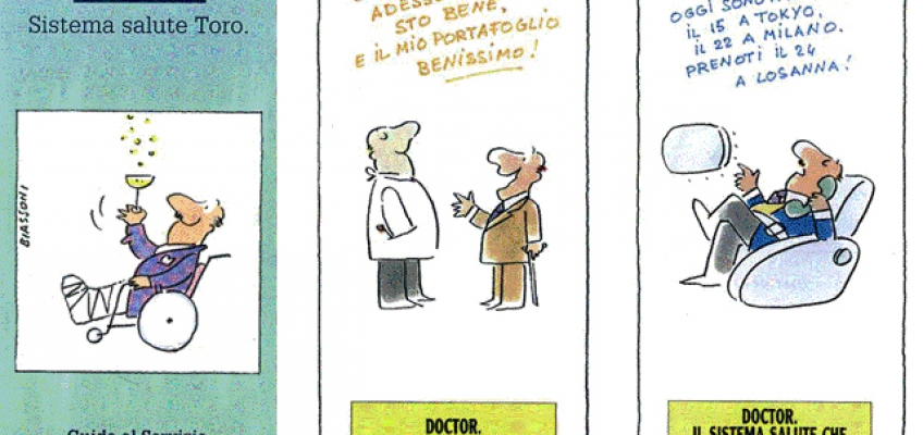 booklet illustrating Toro's 'Doctor' policy: cartoons (M. Biassoni, 1990)