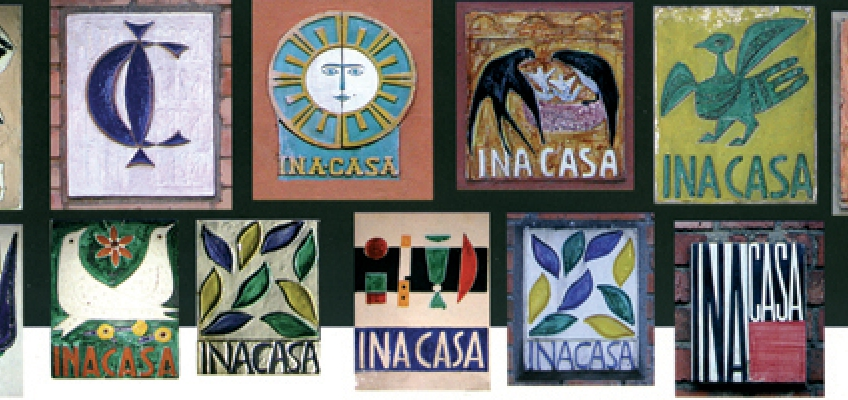 polycrome ceramic tiles 'Ina House Plan': great artists created signature tiles for each building built after WWII through funding from a dedicated organization created by Ina (1949-1963)
